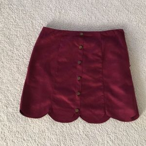 Suede burgundy skirt